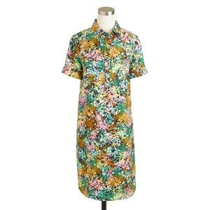 J. Crew Silk Shirtdress, multi floral color, 10